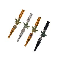 107MM long inlaid green artificial rhinrhinone can plug conical Raw cigarette paper maple leaf cigarette holder BluntHolders