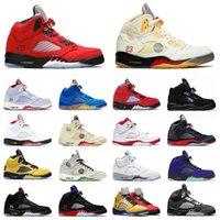 Off White x Nike Air Jordan Retro 5 Jordans 5s 2021 أحذية كرة السلة للرجال Raging Bull Anthracite What The Oregon Island Wings  أحذية رياضية للرجال أحذية