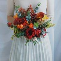 Fiori di nozze Stesthfar Sposa Brodo Bouquet Peonies Rose Real Touch Molla all'aperto Autunno rossa e arancione Boquet da sposa