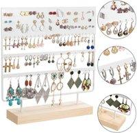 Haki Szyny Kolczyk Stojak Display Stojak 3-poziomowy Uchód Stud Holder Biżuteria Organizator 144 Otwory z bazą drewna