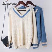 Hirsionan V шеи пэчворк свитер женщины зима утолщение вязаные вязаные раздетый пуловер негабаритные повседневные женские джемпер топ женские SW