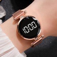 Relojes de pulsera Simple LED Digital Reloj de Cuarzo Correa de malla Sport Wristwatch Para Mujer Joyería Regalo Hombres Alloy Band Style