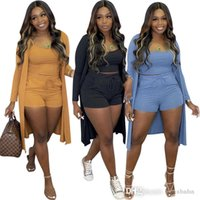 Women Three Piece Suit High Bullet Pit Strip For Tight Short Pants With Pocket Sexy Long Cardigan Womens Sets Spring And Autumn Clothing