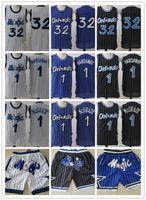 """Hombres Orlando """"Magic"""" Jersey Jersey Penny 1 Hada Hardaway Tracy 1 McGrady 32 Shorts Basketball Jerseys Negro Azul Blanco"""