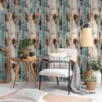 Home Decor 3D PVC Wood Wood Wood Wall Stickers di carta Mattone Sfondo in pietra Sfondo Rustico Effetto rustico Autoadesivo Home Decor Sticker Sala Q0723