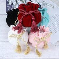 12x17cm fond rond avec sac de cordon de cordon de velours tassel mp3 bijoux emballage sacs sacs sacs cadeau emballage