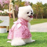 Cute Pet Dog Cat Sequin Skirt Pet Clothes Supplies Spring Summer Princess Wedding Dress For Dogs Cats Apparel