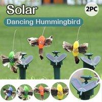 Garden Decorations Beautiful Vibration Solar Power Dancing Flying Fluttering Butterflies Hummingbird 1 Pcs Sunflower Yard Decoration 2pcs