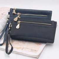 Wallets Mobile Phone Bag Korean Version Of The Matte Double Zipper Ladies Long Wallet Large Capacity Multi-function Handbag