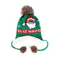 Beanies Christmas Hat Knitted Woolen Yarn Warmth And Velvet Decoration Children's Autumn Winter Lei Feng Baby