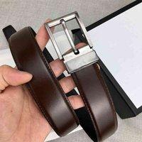Cinto de moda dos homens cintos de alta qualidade clássico preto marrom 3,4 cm de largura com caixa de presente 18zs5
