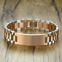 chain Gents Two-Tone Rose Gold Tone President-Style with ID Tag Plate Link Watch Band Bracelet Inspiration Engravable Men Jewelry