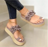 -Breathable Linen Flip Women Summer Casual Daily Flower Slip On Platform Sandals Thick Bottom Slippers zapatos de mujer#35
