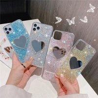 Luxo glitter lantejoulas amor coração maquiagem espelho telefone casos para iphone 12 11 pro max xs xr x 6 6 s 7 8 plus se se suave tampa de silicone