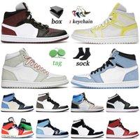 nike air jordan 1 1s retro off white مع صندوق 2022 Top Jumpman 1 رجالي أحذية كرة السلة جامعة الأزرق Seafoam منتصف أسود بنجر داكن الرجال النساء أحذية رياضية المدربين 36-46