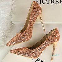 Fashion-Dress Shoes Women 9.5cm Thin High Heels Sexy Glitter Bright Scarpins Pumps Lady Stiletto Wedding Bridal Gold Silver Red