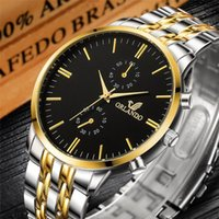 Marka Erkekler İzle Orlando Moda Kuvars Gümüş Altın Paslanmaz Çelik Erkek Saatler Adam Saat Horloge Mannen Saatı
