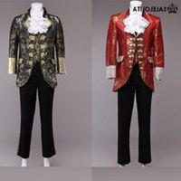 Großhandel - High-End-Rot / Glod Herren Prince William-Anzüge 4 Sets Floral Renaissance mittelalterliche König Louise Anzug Periode Kostüm (Jacke + Pant + V ENIV