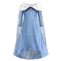 Girls Cosplay Dresses Queen Snowflake Cloak Dress Up Stage Performance Kids Clothes Snow Christmas Party Show Dress 3-10T 07