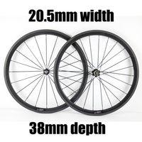 Ruote della bici 20,5 mm Larghezza cabincher / Tubular Road Wheelset 700C 38mm Profondità del basalto superficie del freno del basalto Novatec hub