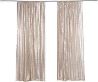 Partido Decoración de lentejuelas Telón de fondo Panel de cortina 2x8ft-Champagne, JOGRAFIO DE LECTINA PARA PARTIDO / HOGAR 1 UNID, BOLSILLO