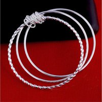 Bangle YJ Korean Style Simple Three-ring Ladies Bracelet Fashion Silver Plated Female Twisted Wire Activity