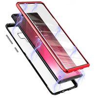 Magnetic Adsorption Metal Frame Front e Voltar Vidro Temperado Cobertura de Tela Completa para Samsung Galaxy A11 A31 A51 A71 A81 Nota 10 Lite A21S M31 50 pcs / lote