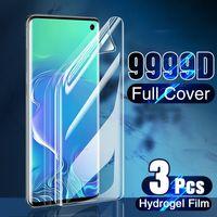 Cell Phone Screen Protectors 3 pçs filme de hidrogel na tela protetor para samsung galaxy s21 ultra s20 s10 plus s9 s8 para samsung a70 a51 a50 não vidro