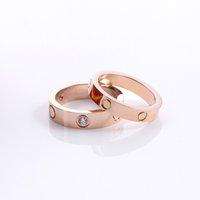 2021 Designer para anel de mulher Zircônia Engajamento Titânio Aço amor Anéis de Casamento Rosa Rose Prata Moda Jóias Presentes Mulheres Homens Acessórios