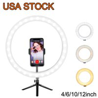 """12""""Ring Light LED Desktop Selfie USB LEDs Desk Camera Ringlights 3 Colors Lighting with Tripod Stand Cell Phone Holder and for Photography Makeup Live Streaming"""