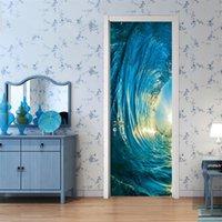 2 개 / 세트 게이트 스티커 DIY 벽화 침실 홈 장식 포스터 PVC 3D 서핑 방수 모조 3D 도어 스티커 벽지 데칼 677 V2