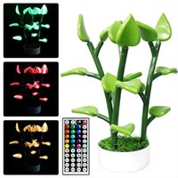 Night Lights Led Houseplant Artificial Plants Light 16 RGB Colors 4 Modes Plant Table Lamp Modern Home Decor For Dinner Date Gatherings
