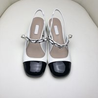 shoes 2021 summer m family chain patent leather round head back air color matching thick heel with pearl sandals yw