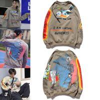Kanye West Graffiti letra impresa más camisa de terciopelo hombres y mujeres Harajuku Fleece Hoodie Hip Hop Skull Bird