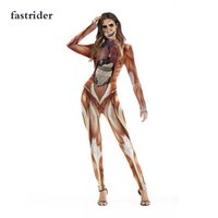 High quality new 2018 Hot Halloween Attack on Titan Scary Costume for Women Jumpsuits Party Muscle Print Catsuit Sexy Bodys