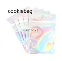 2021r Holographic Color Multiple Size Smell Proof Bags 100 pieces Resealable Mylar Clear Zip Lock Food Candy Storage Packing