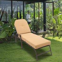 야외 철 벤치 PVC 침대 붕대 갈색 프레임 다시 조정 가능한 강철 갑판 의자 UV 증거 쿠션 베이지