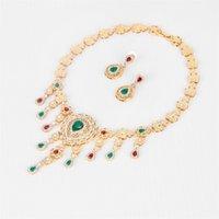 Zircon GEM Crystal Vestido de boda Accesorios Disfraz de mujer fiesta color oro perlas africano collar tasel Joyas Conjuntos CX200808 249 Q2