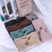 Hair Accessories 2021 Woolen Cross Top Knot Elastic Bands For Women Soft Solid Color Turban Headbands Girls