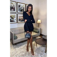 Casual Dresses Women Sexy Long Sleeve Knitted Deep V Neck Side Drawstring Hip Package Bodycon Slim Short Mini Ruched Dress Evening Party