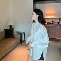 Ruffles Shirt Womens Tops Spring Patchwork Pleated Women Shirts Khaki White Black Rose A3847 Women's Blouses &