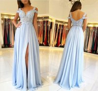 Party Dresses Sky Blue Evening Dresse Long Side Split Off Shoulder Lace Appliques Prom Gowns Wedding Guest Maid Of Honor