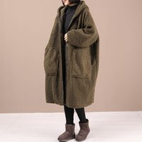 leather Oversized Korean casual lamb wool long female with loose hoodie winter furry jacket fashion mujer y1119 shelters H16K