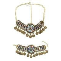 Örhängen Halsband Afghanska Smycken Vintage Metal Mynt Tassel Headbands Armband Set Gypsy Tribal Belly Dance Party Tillbehör