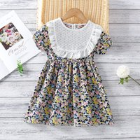 Sweet Stitching Print Girls Dress 2021 Summer New Lace Round...
