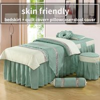 Bedding Sets 4 Pcs For Beauty Salon Bedspread Linens Massage Spa Use Duvet Cover Bed Skirt Quilt Stool Pillowcase
