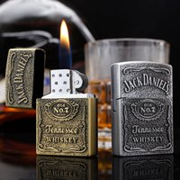 Grinder lighter wholesale creative retro inflatable metal portable fire cigarette lighter smoking factory direct sales GWF7854