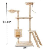 """Waco Cat Actividad Torre Torre Play Muebles de la casa, Sisal Croques Scratchers Posts Perches Casas Hammock, Pequeño Centro de Condominio de Kitty, 60 """"Beige"""