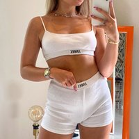 Summer Ribber Women Set White Spaghetti Strap Crop Top And Mini Biker Shorts Embroidery Two Piece Sets Sexy Outfit Party A0604