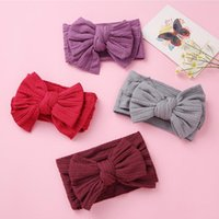 Hair Accessories Solid Color Jacquard Nylon Headband For Baby Girl Band Knitted Double Bowknot Elastic Children Hairband Kid Turban